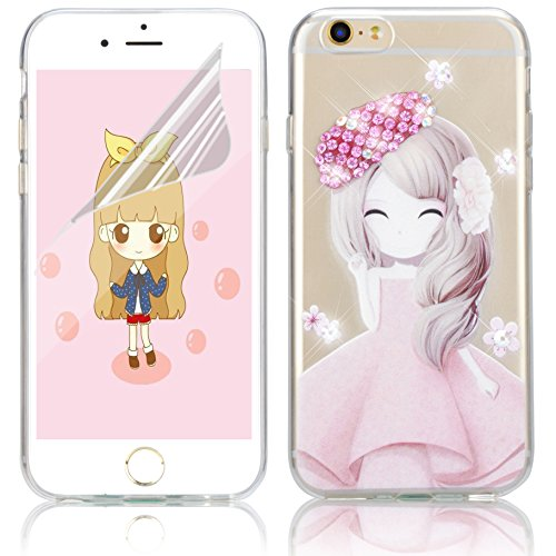 Coque iPhone 7, Coque iPhone 7 Transparent Silicone TPU Gel Soft Etui Sunroyal® Housse de Protection Motif Slim Bling Strass Case Cover Anti-Scratch Antichoc + Film Protection - Cartoon Lapin Bling TPU-04