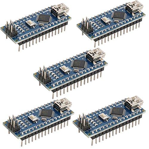 HiLetgo 5pcs Nano V3.0 ATmega328P 5 V 16 MHz CH340G Scheda di sviluppo micro-controller USB mini Bootloadered compatibile con Arduino di HiLetgo