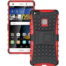 Huawei P9 Lite Funda,Panphy Heavy Duty silicona híbrida con soporte Cáscara de Cubierta Protectora de Doble Capa Funda Caso para Huawei P9 Lite,Rojo