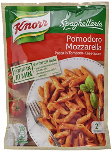 Knorr Spaghetteria Pomodoro Mozzarella Nudel-Fertiggericht Pasta in Tomaten-Käse-Sauce, 163g 2 Portionen