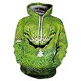 Coole Schlange 3D grüne Viper Print Pullover Hody Tops Herbst Sportswear Trainingsanzug mit Kapuze Sweatshirt 3D Hoodies M