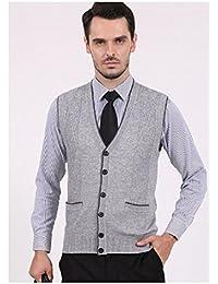Para hombre Slim Fit elegante botón Up chaleco Chaqueta chaleco de jersey de lana