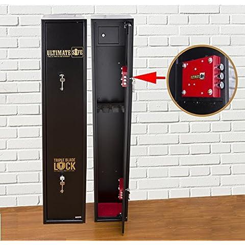 Ultimate Safe® Cassaforte Armadio Sicuro per 3 fucili, Armadio con Chiusura Triple Blade Lock® con Scatola Interna di Munizione
