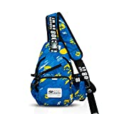 FANDARE Mode Sling Bag Rucksack Umhängetasche Brusttasche Messenger Bag Schultertasche Hiking Bag Daypack Crossbody Bag Chest Pack Sports Reisetasche Wasserdicht Polyester Hellblau