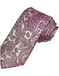 TED BAKER London Mens 100% Woven Silk Neck Tie Necktie Pink Paisley