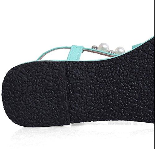 Aisun Damne Perlen KnöchelriemchenLässige Flache Schuhe Offene Sandalen Blau