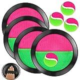 OOTSR 8pcs Paddle Catch Ball Set Wurf- und Catch Ball-Spielset 4 Klettverschluss verstellbares Selbstklebepaddel 4 Bälle für Outdoor-Aktivitäten