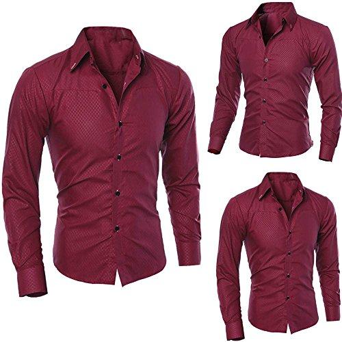 Aiserkly Mann Mode gedruckt Bluse lässig Langarm Slim Shirts Tops Wein XL