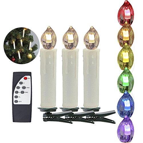 HJ® 30er Set Classic Mini LED Weihnachtskerzen RGB Lichterkette Christbaumschmuck mit Infrarot-Fernbedienung, kabellose, Clip Grün, beige