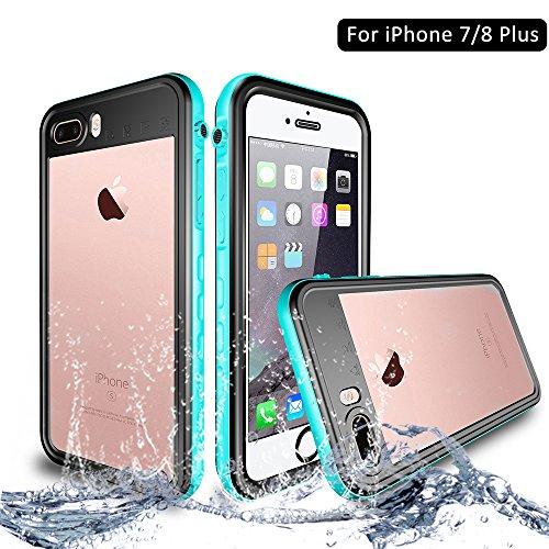 NewTsie iPhone 7/8 Plus Wasserdicht Stoßfest Hülle, IP68 Zertifiziert Schutzhülle Staubdicht mit Eingebautem Displayschutzfolie für Apple iPhone 7/8 Plus 5.5 inch (T-Blau)