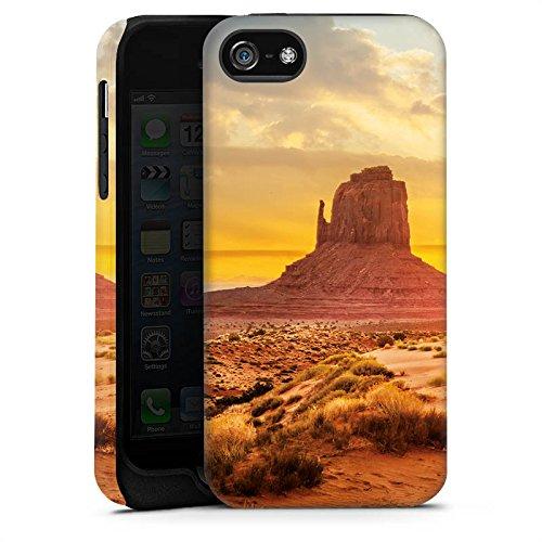 Apple iPhone 5s Housse Étui Protection Coque Coucher de soleil Amérique Désert Cas Tough terne