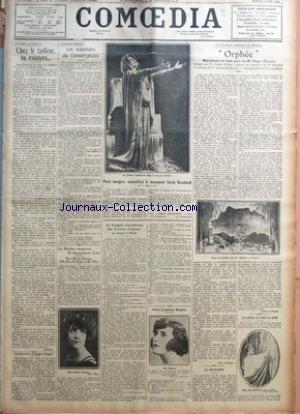 COMOEDIA [No 4916] du 12/06/1926 - LE CHAPITRE DU COSTUME-CHEZ LE TAILLEUR, TU ESSYES... PAR PHILINTE UN TELEGRAMME DE RUGGERO RUGGERI GUERRE AUX FRAUDEURS-LES SCANDALES DU CONSERVATOIRE PAR J.-P. L. LES ARTISTES VAINQUEURS DU CHAMPIONNAT D'AUTO-MME MARTHE DERMINY, MLLE MARCELLE RAHNA ET M. ULMO PAR J. A. PARIS INAUGURE AUJOURD'HUI LE MONUMENT SARAH BERNHARDT LE CONGRES INTERNATIONAL DES SOCIETES D'AUTEURS SE REUNIT A PARIS POUR EUGENIE BUFFET A L'ACADEMIE NATIONALE DE MUSIQUE-ORPHEE-MOM