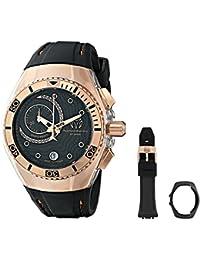 Technomarine unisex Quartz Watch with Black Dial Chronograph Display and Black Silicone Strap 114041