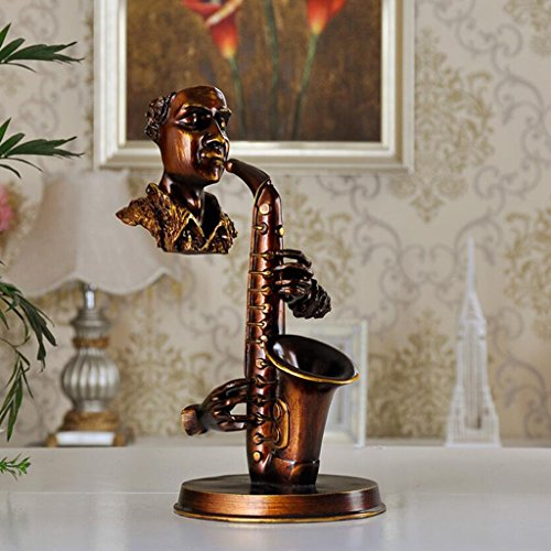 LINGZHIGAN Moderne minimalistische abstrakte spielen Saxophon Skulptur Handwerk Retro Büro Wohnzimmer Kunstwerk Spielerei, 19 * 15 * 31,5 cm ( Farbe : B )