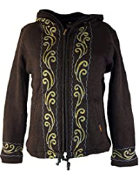 bestickte Veste en tricot en laine pour femme Népal/Veste en tricot Vestes