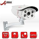 ANRAN 1200TVL 1/2.7'CMOS de vídeo cámara alta definición de vigilancia IR-CUT con 4pcs Array IR LEDs visión nocturna 164pieds (50m) impermeable IP66día/noche sistemas seguridad para el hogar