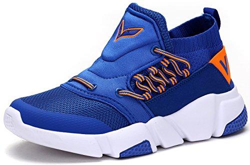 VITIKE Jungen Mädchen Mesh Sneaker Outdoor Athletic Unterhose auf Beiläufig Laufen Schuhe (Kleinkind/Kleines Kind/Großes Kind-Blau-EU31)
