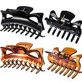 4 Stück Kunststoff Haar Klaue Clips Damen Dicke Haare Klaue Klammern (2,4 Zoll und 4,33 Zoll, Schwarz und Braun)