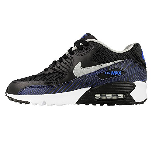 Nike Nike Air Max 90 Aufdruck Netz Gs, Jungen' Laufen Black metallisch silber Hyper Kobalt 002