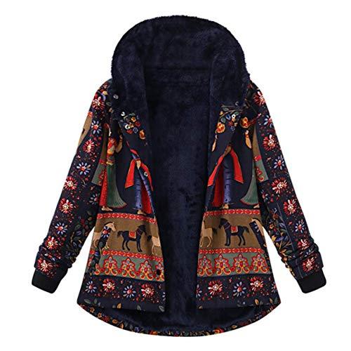 ZahuihuiM Folk-Custom Imprimé Veste pour Femmes Hiver Lâche Coton Chaud Poches Chaudes Plus Épaisses Hasp À Capuche Manteau Outwear