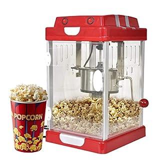 vidaXL Profi Popcorn Maschine roten Retro-Design mit Edelstahl-Topf 310 Watt