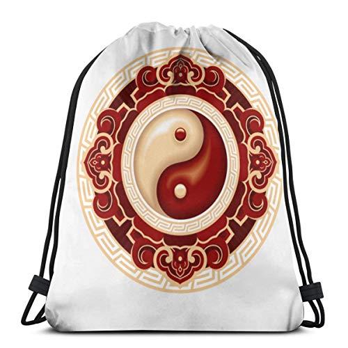 Bag hat Traditional Asian Symbol with Floral Ornament Patterns 3D Print Drawstring Backpack Rucksack Shoulder Gym for Adult 16.9