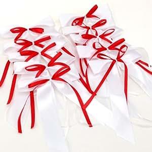 10pcs Noeud papillon satin ruban mariage voiture décoration blanc+rouge