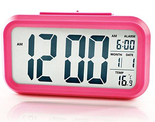 LED Wecker Digital Beleuchtet Schlummerfunktion mit Datum und Temperaturanzeige Nachtlicht (Pink)