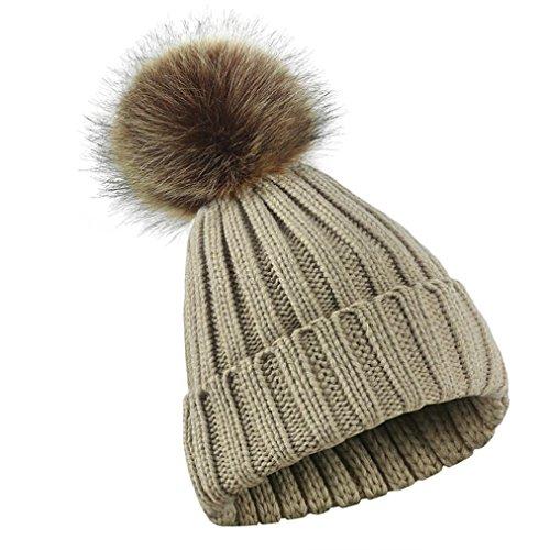 LCLrute Mode Männer Winter-Frauen-Mädchen-Häkelarbeit strickte Hut-Schädel-Kappen-Ball-Mützen Hairball-Hut (Khaki) (Hut Winter Gestickte Stricken)