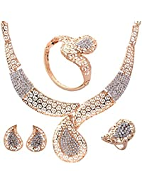 Yazilind Gold Plated Jewelry Sets Waterdrop Necklace Earrings Bracelet Finger Ring