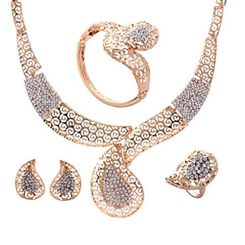 YAZILIND plaqué or Parures Collier Waterdrop Bracelet Boucles d'oreilles Bagu