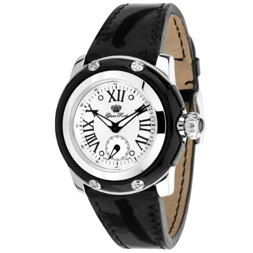 Glam Rock Women's Palm Beach 40mm Black Leather Band Steel Case Swiss Quartz White Dial Watch GR40018