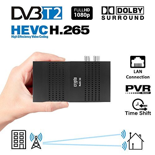 Crypto Redi 30P Mini Receptor DVBT2 Full HD con H.265 / HEVC, Dolby, PVR Ready, Reproductor Multimedia, LAN, HDMI, RF out y Control Remoto con 4 Teclas de función de Aprendizaje