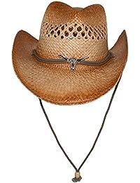 5992cf02180 Kenny K Men s Raffia Cowboy Hat with Longhorn Concho Beige