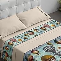 Burrito Blanco Juego de Sábanas 100 con diseño de Globos Aerostáticos para Cama de Matrimonio de 135x190 cm hasta 135x200 cm, Color Azul Granate y Ocre