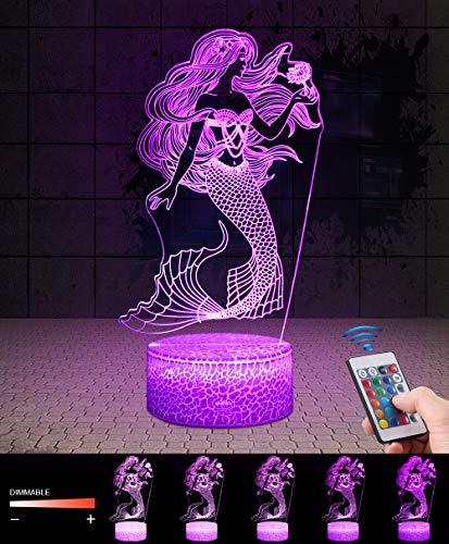 Sirène 3D Lampes avec Télécommande, QiLiTd LED Lampe 7...