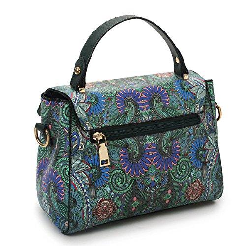 Mode Walddruck Inkjet Schultertasche Messenger Bag Damen Handtasche Einfach Elegant Darkgreen