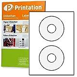 CD DVD Etichette bianche autoadesive rotonde opache stampabili - 50 adesivi su 25 fogli DIN A4 - diametro 117 mm