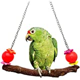 Mrli Pet Colorful Swing Toys With Natural Branches For Bird Parrot Canaries Finches Cockatiels Lovebirds Small Parakeets Parrotlets Cage Sanded Perch Toy