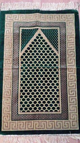 Elegant Entworfene Hohe Qualität Gebet Matte Teppiche Sejadah Sajadah Gebetsteppich Seccade Sejjada Islam Mekka Namazlik Orientteppich 110 x 70 cm Neu (Grün/Gold) - Islam-teppich