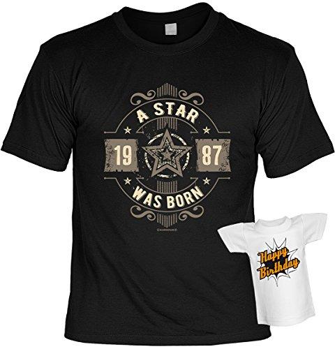 Cooles Geburtstagsgeschenk Leiberl für Männer T-Shirt Set mit Mini T-Shirt A Star 1987 was born Leibal zum Geburtstag Schwarz