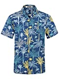 APTRO Herren Hemd Strandhemd Hawaiihemd Kurzarm Urlaub Hemd Freizeit Reise Hemd Party Hemd BT033 XL