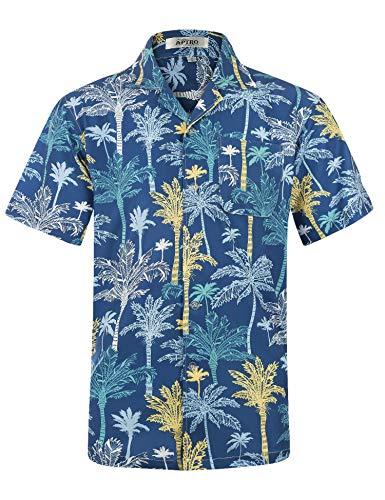 APTRO Herren Hemd Strandhemd Hawaiihemd Kurzarm Urlaub Hemd Freizeit Reise Hemd Party Hemd, Palme Blau, L