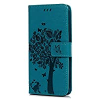 Tophung Huawei P20 Lite Case, Premium PU Leather Flip Notebook Wallet Case Embossed Cat Butterfly with Magnetic Stand Card Holder ID Slot Folio Soft Protective Skin Case Cover for Huawei P20 Lite