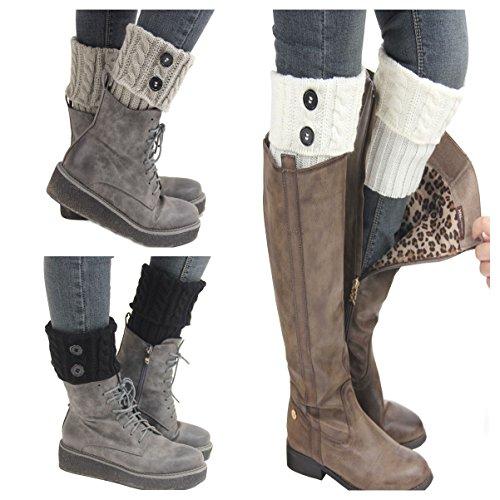 Santwo donne inverno caldo lavorato a maglia calze Stivale gamba corta, 3paia Model 1 Taglia unica