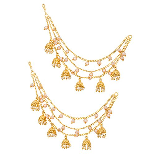 The Luxor Gold Plated Long Chain Jhumki Hair Chain Accessories for Earrings for Women