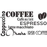 decalmile Negro Pegatinas De Pared Letras and Frases Cappuccino Espresso Mocha Latte Cocina Adhesivos Pared Desmontable Vinil