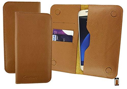 Emartbuy Tan Genuino Vitello Pelle Magnetico Sottile Custodia Case Cover Sleeve (Misura 5XL) Suitable per Komu K70 Smartphone 5.5 Pollice