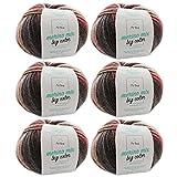 Merinowolle * Merinowolle Symphony (Fb 5007) * 6 Knäuel Merinowolle rot zum Stricken - dicke Wolle + GRATIS MyOma Label - 100g/150m - Nadelstärke 6-7mm - MyOma Wolle - weiche Wolle – Color Wolle