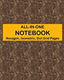ALL-IN-ONE NOTEBOOK - Hexagon, Isometric, Dot Grid Pages: 4 Types Of Designing Paper In One Book - See The Back Cover For Samples - Cocoa Marble Pattern